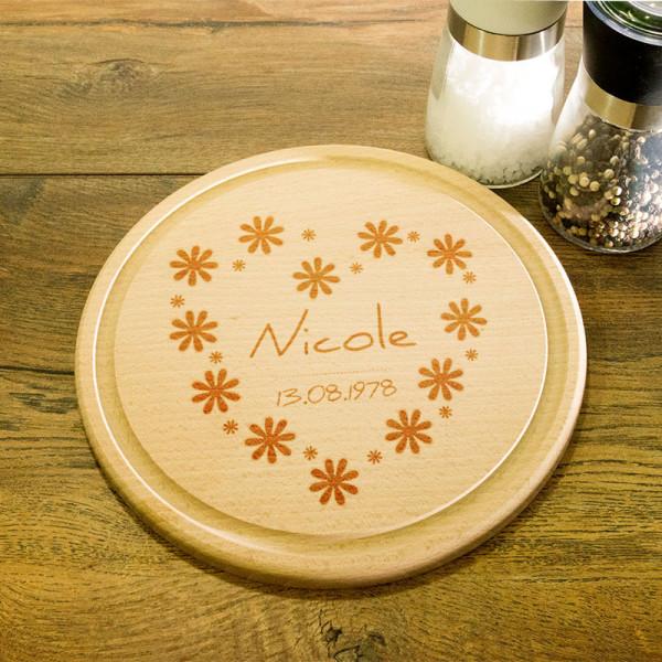 Rundes personalisiertes Frühstücksbrett aus Holz zum Muttertag