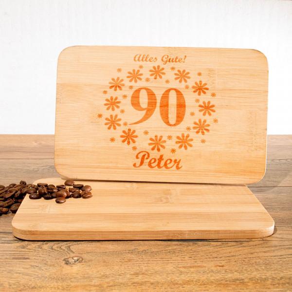 Frühstücksbrettchen mit Wunschmotiv zum 90.