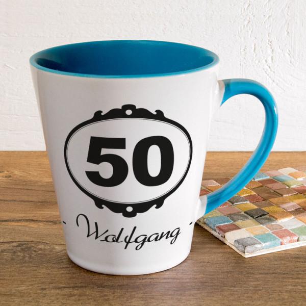 Personalisierte Tasse FUNNY Latte klein zum 50.