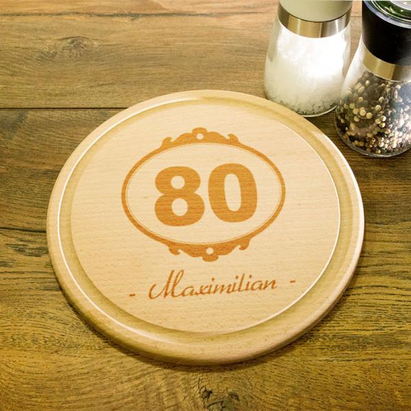 Rundes personalisiertes Frühstücksbrett aus Holz zum 80.