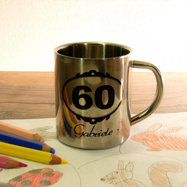 Fototasse aus Edelstahl mit Wunschmotiv zum 60.