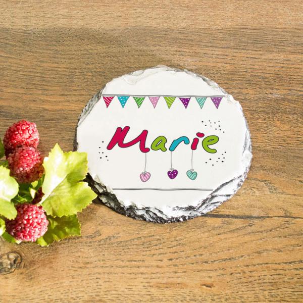Runder Tassenuntersetzer aus Granit zum Geburtstag