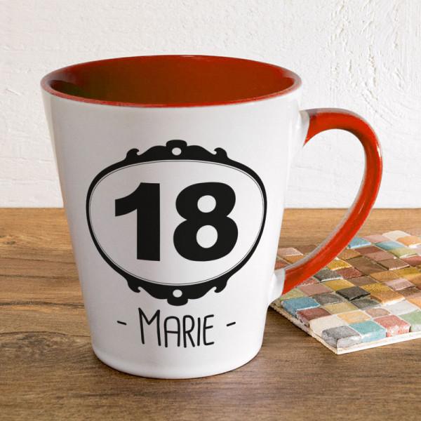 Tasse FUNNY Latte klein mit Wunschmotiv zum 18.