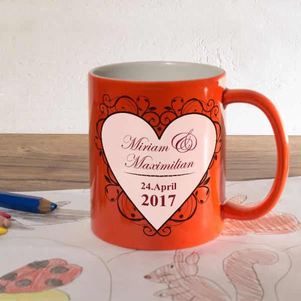 Personalisierte orange Zaubertasse zur Hochzeit