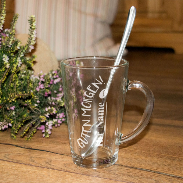 Latte-Macchiato-Glas mit Ihrem Wunschmotiv graviert