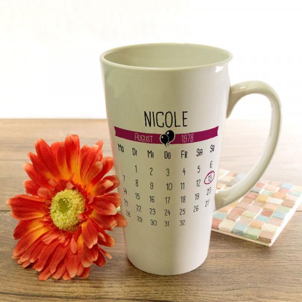 Große Tasse Latte zum Geburtstag mit Ihrem Wunschmotiv