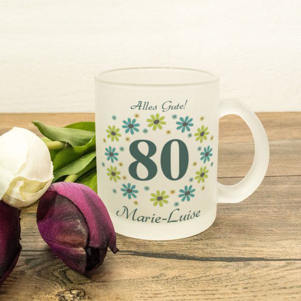 Personalisierte Glastasse satiniert zum 80.