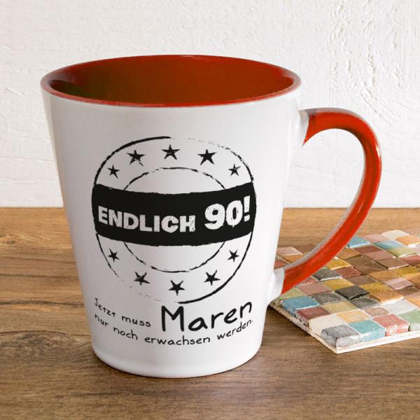 Tasse FUNNY Latte klein mit Wunschmotiv zum 90.