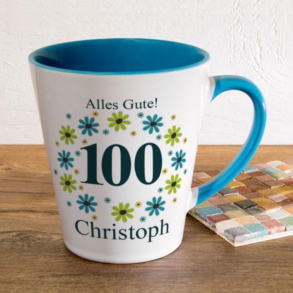 Personalisierte Tasse FUNNY Latte klein zum 100.