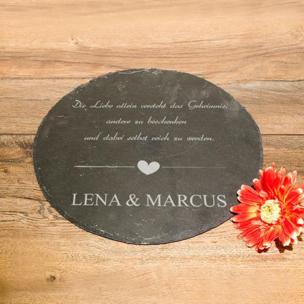 Runde Schieferplatte mit Wunschmotiv zur Hochzeit