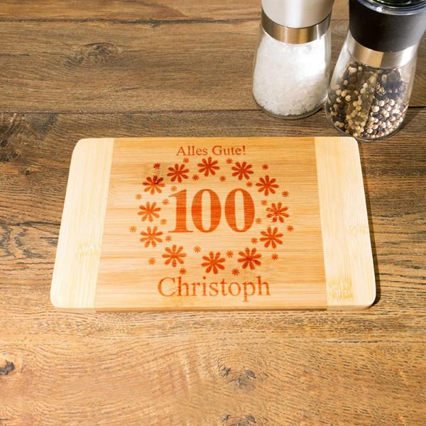 Schneidebrett aus Holz mit Wunschmotiv zum 100.