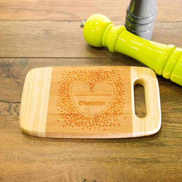 Frühstücksbrett aus Holz mit Griff graviert zum Geburtstag