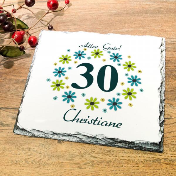Platte aus Granit mit Wunschmotiv zum 30.