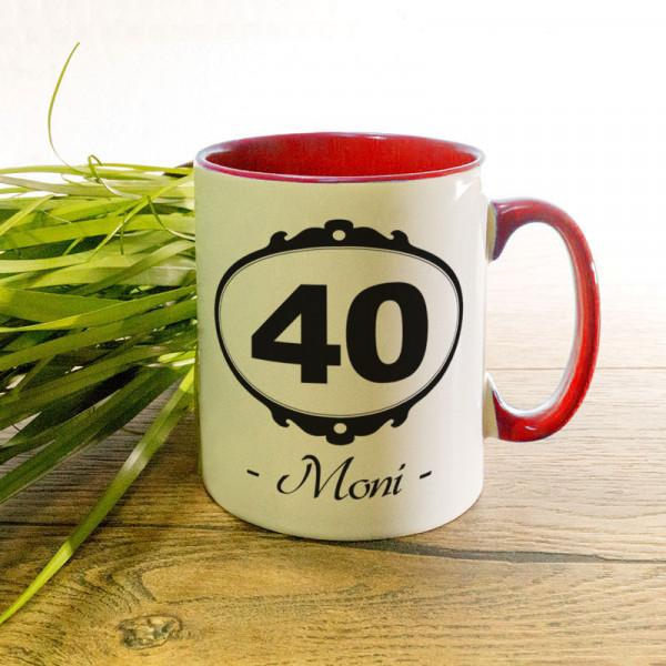 Tasse mit Wunschmotiv zum 40.