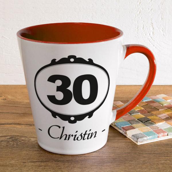 Tasse FUNNY Latte klein mit Wunschmotiv zum 30.