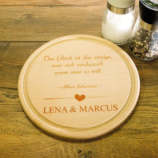 Personalisiertes rundes Schneidebrett aus Holz zur Hochzeit