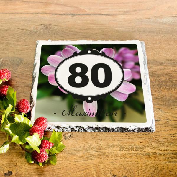 Personalisierte Granitplatte zum 80.