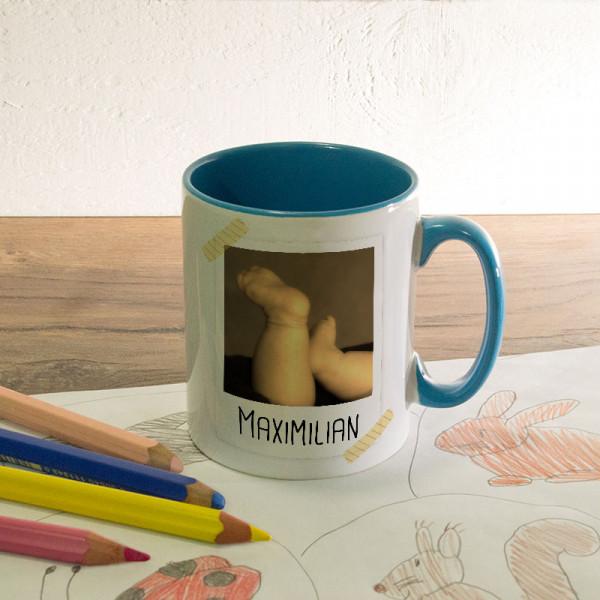 Tasse zur Geburt mit Name und Wunschfoto