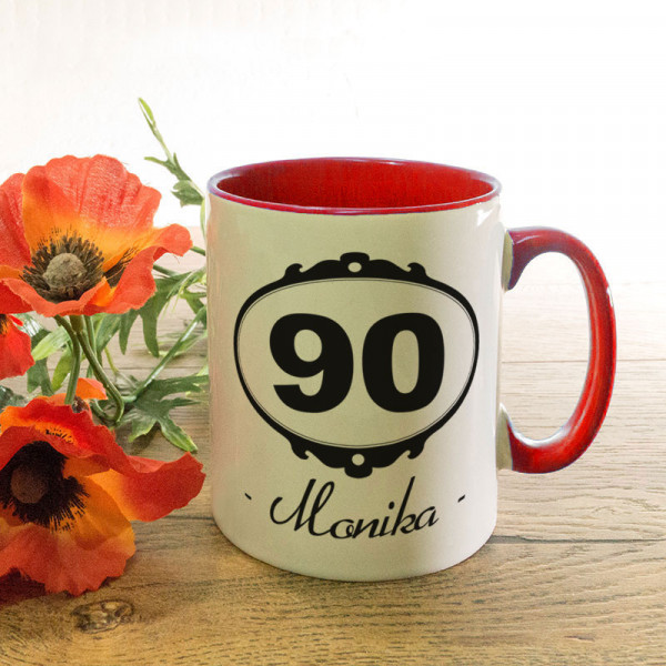 Personalisierte Tasse zum 90.