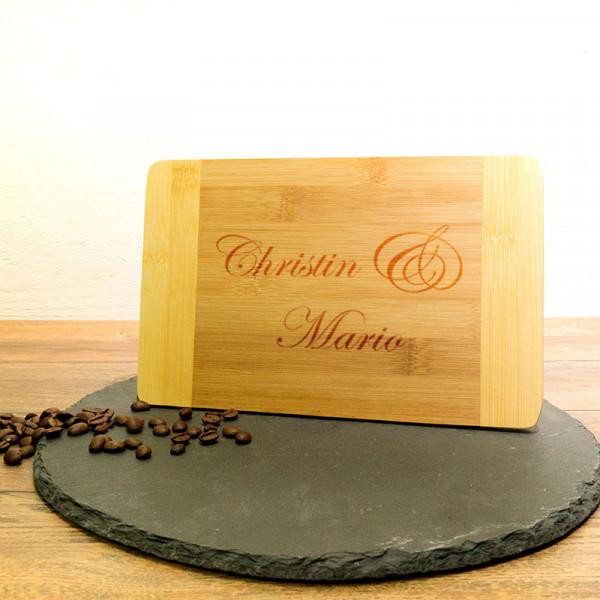 Personalisiertes Frühstücksbrett aus Holz zur Hochzeit