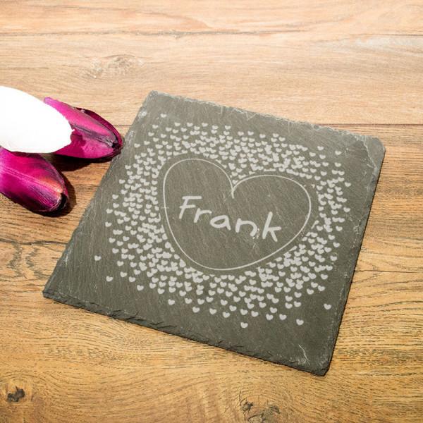Personalisierte eckicke Schieferplatte mit Name zum Vatertag
