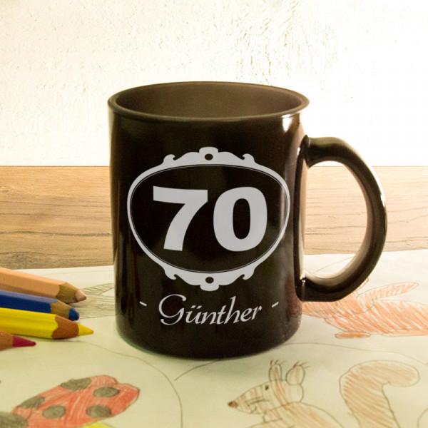 Glas Zaubertasse satiniert mit Wunschmotiv zum 70.