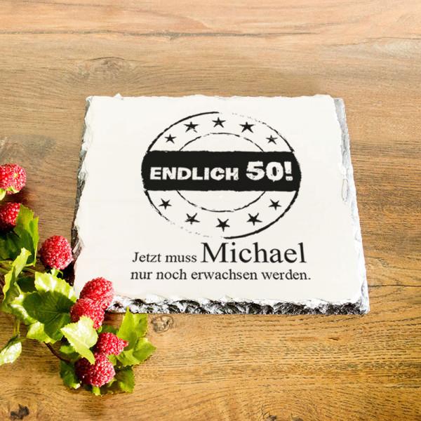Platte aus Granit mit Wunschmotiv zum 50.