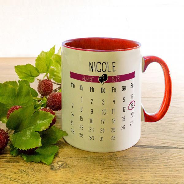 Tasse mit Kalender zum Geburtstag