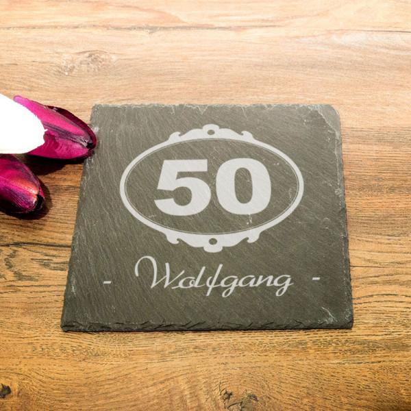 Eckige Schieferplatte mit Wunschmotiv zum 50.