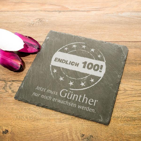 Eckige Schieferplatte mit Wunschmotiv zum 100.
