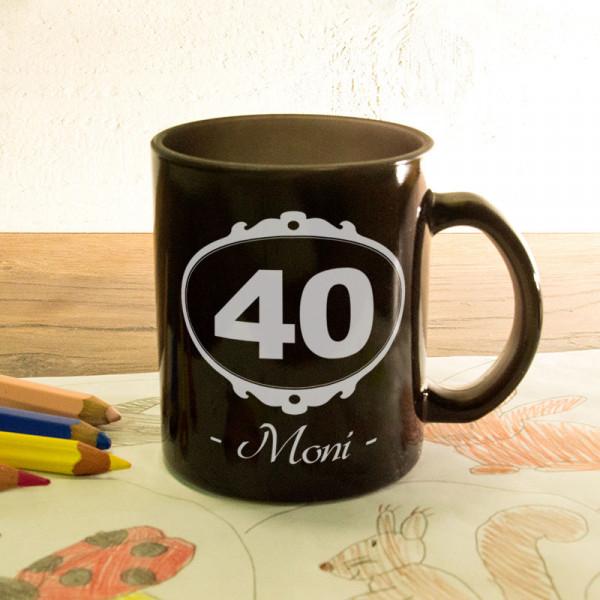 Glas Zaubertasse satiniert mit Wunschmotiv zum 40.