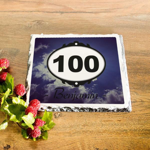 Personalisierte Granitplatte zum 100.